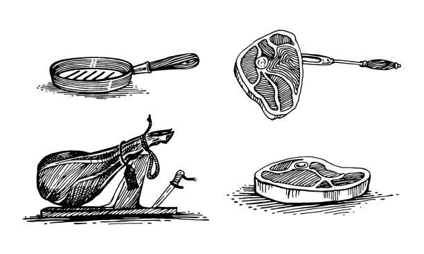 ilustrações de stock, clip art, desenhos animados e ícones de meat, steak, ham, frying pan. vector set, hand-drawing - meat texture