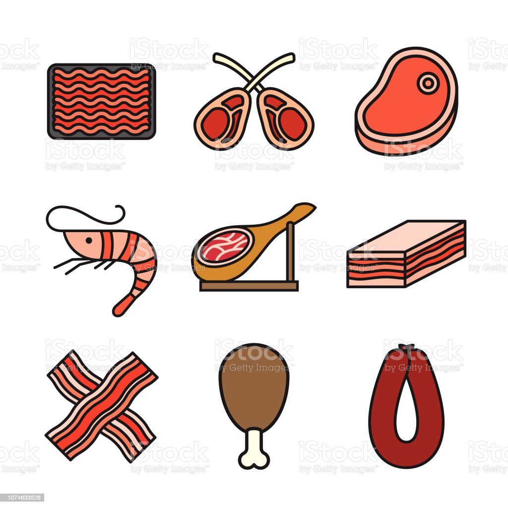 Conjunto de ícones de linha fina de carne - ilustração de arte em vetor