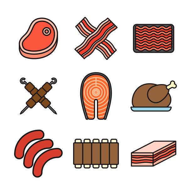 fleisch dünne linie-icon-set - schweinebauch stock-grafiken, -clipart, -cartoons und -symbole