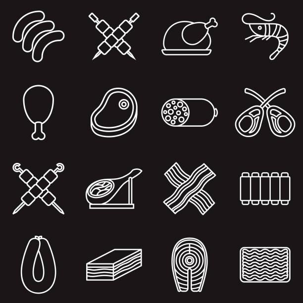fleisch dünne linie umriss-icon-set - schweinebauch stock-grafiken, -clipart, -cartoons und -symbole