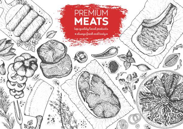 stockillustraties, clipart, cartoons en iconen met vlees top view frame. vector illustratie. gegraveerd ontwerp. hand getekende illustratie. stukken vlees ontwerpsjabloon. - vleesdelen