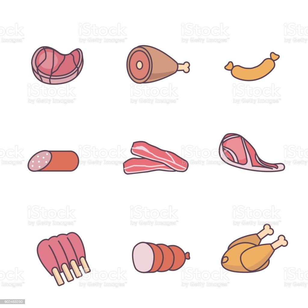 meat vector art illustration