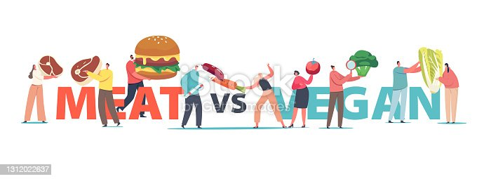 istock Meat VS Vegan Food Concept. Tiny Male or Female Characters with Huge Healthy and Unhealthy Products Meat or Vegetables 1312022637