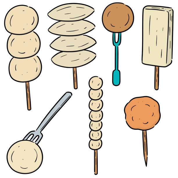 meatball, fish ball, pork ball and shrimp ball – artystyczna grafika wektorowa