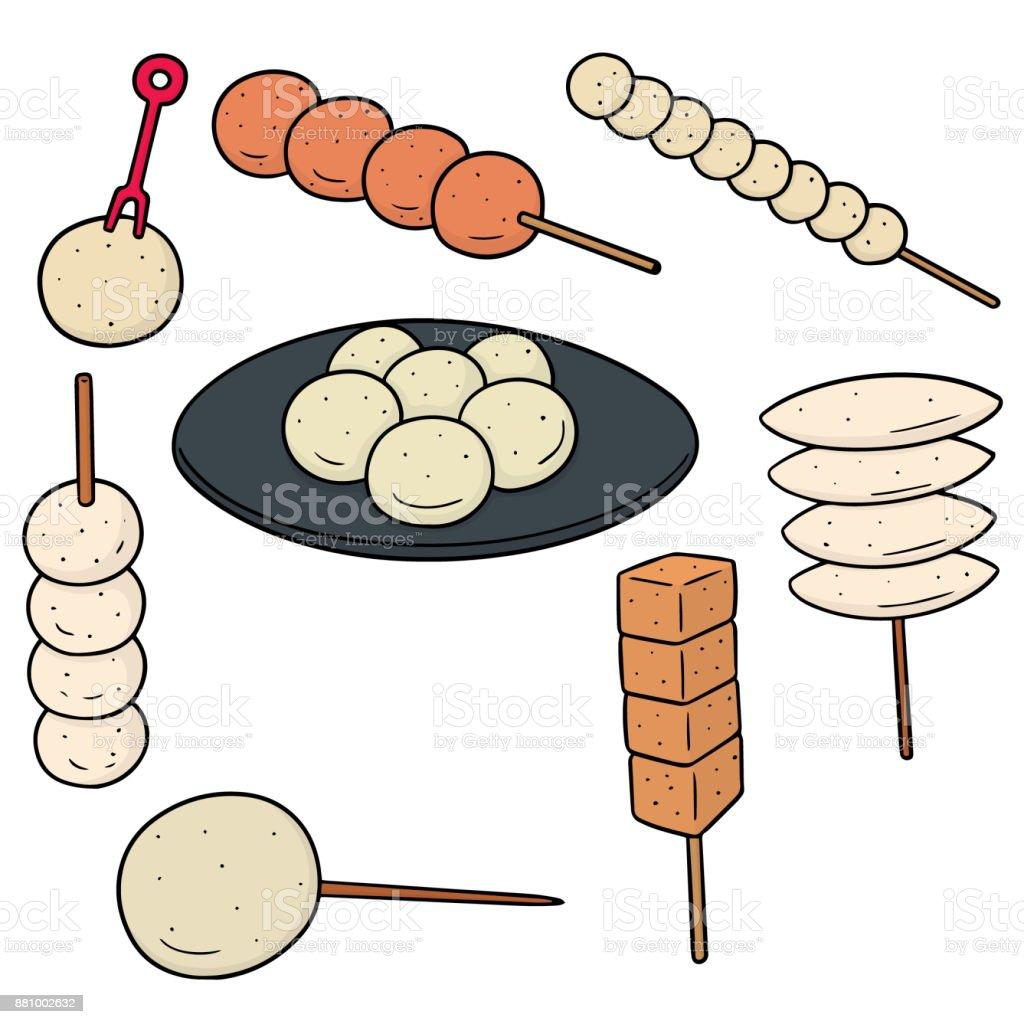meatball, fish ball, pork ball and shrimp ball vector art illustration