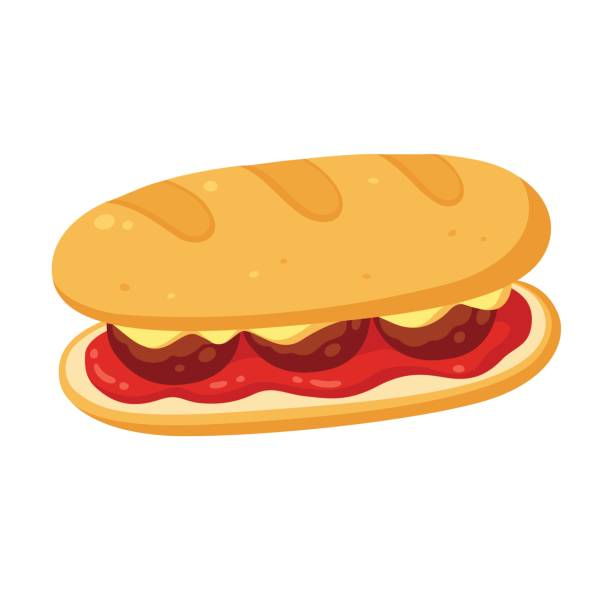 meatball sub sandwich - sub sandwich stock illustrations, clip art, cartoons, & icons