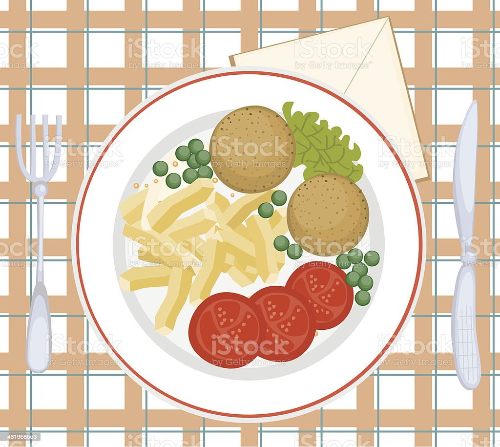 Meatballs With Chips, Peas, Tomato Slices, Lettuce On Plate royalty-free meatballs with chips peas tomato slices lettuce on plate stock vector art & more images of breakfast