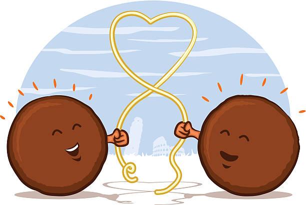 Meatballs with Spaghetti Heart vector art illustration