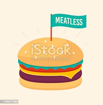 Meatless cheeseburger fast food illustration.