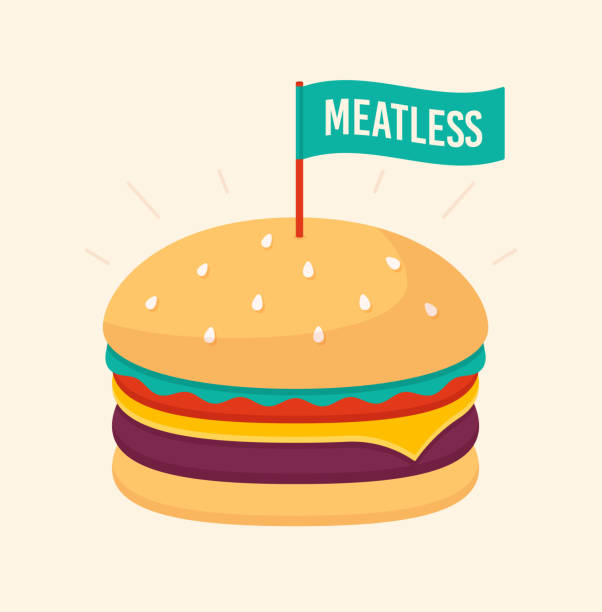 meatless hamburger - cheeseburger stock illustrations