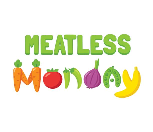 meatless monday banner - vegetarian stock illustrations, clip art, cartoons, & icons