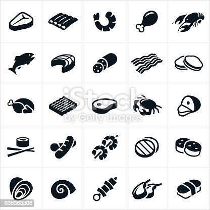 An icon set of different meats and seafood. The icons include beef, steak, ribs, chicken, meat, bacon, turkey, hamburger, pork, ham, hotdog, sausage, kabob, lamb, shrimp, lobster, fish, salmon, clams, oysters, crab, sushi, scallops and escargot.