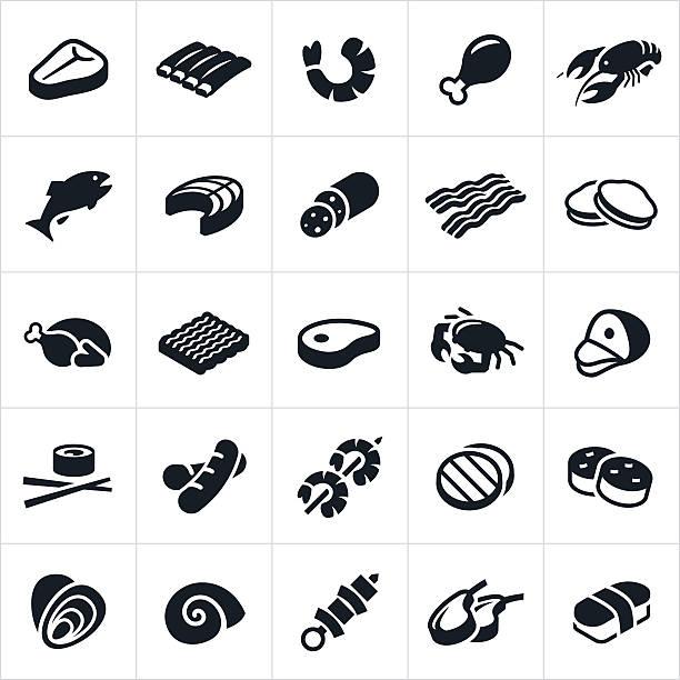 fleisch- und meeresfrüchte-ikonen - lachs meeresfrüchte stock-grafiken, -clipart, -cartoons und -symbole