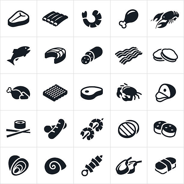 Meats and Seafood Icons An icon set of different meats and seafood. The icons include beef, steak, ribs, chicken, meat, bacon, turkey, hamburger, pork, ham, hotdog, sausage, kabob, lamb, shrimp, lobster, fish, salmon, clams, oysters, crab, sushi, scallops and escargot. poultry stock illustrations
