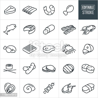 A set of meats and seafood icons that include editable strokes or outlines using the EPS vector file. The icons include a steak, ribs, shrimp, chicken, fish, salmon, pepperoni, bacon, lobster, turkey, beef, ground beef, pork chop, crab, ham, sushi, sausage, hot dogs, clams, oysters, hamburgers, scallops, escargot, shish kabob and lamb.