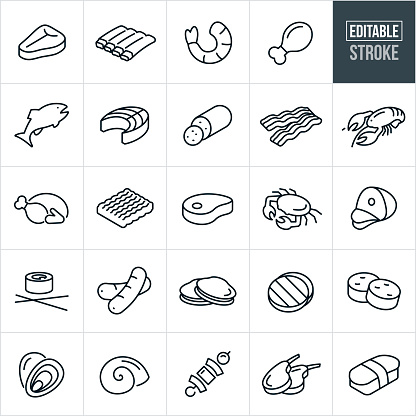 Meats and Seafood Thin Line Icons - Editable Stroke