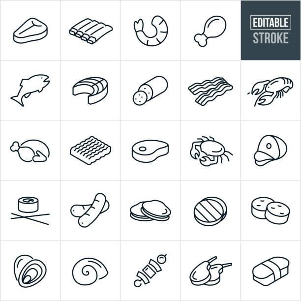 fleisch und meeresfrüchte dünne linie icons - editierbare strich - lachs meeresfrüchte stock-grafiken, -clipart, -cartoons und -symbole