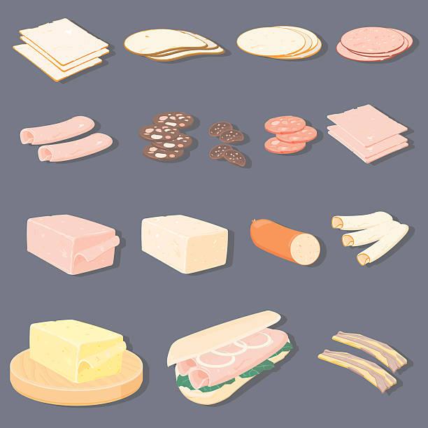 bildbanksillustrationer, clip art samt tecknat material och ikoner med meats & cheese with sub roll - cheese sandwich