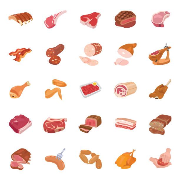 illustrazioni stock, clip art, cartoni animati e icone di tendenza di meats color vector icons - mortadella