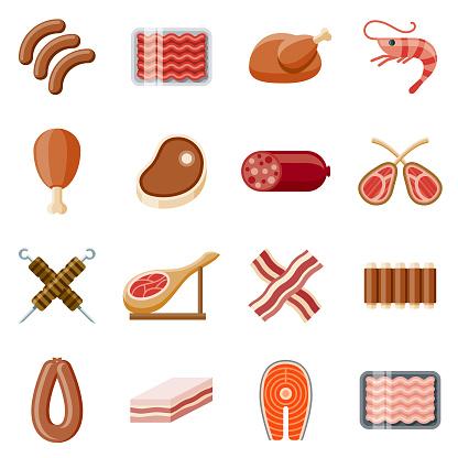 Meats Flat Design Icon Set