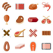 Meats Flat Design Icon Set