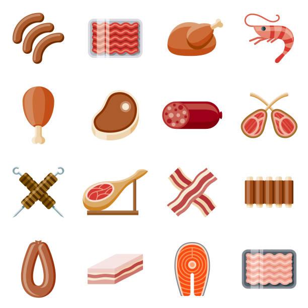 bildbanksillustrationer, clip art samt tecknat material och ikoner med kött platt design ikonuppsättning - korv