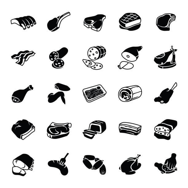 illustrazioni stock, clip art, cartoni animati e icone di tendenza di meats glyph vector icons - mortadella