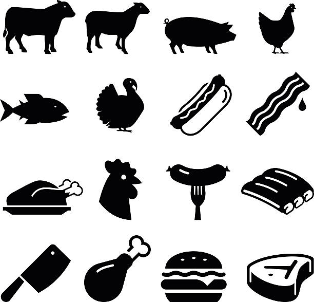 Meats Icons - Black Series Butcher shop icon set. Professional vector icons for your print project or Web site. See more in this series.  poultry stock illustrations
