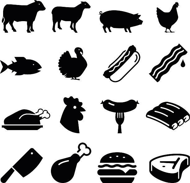 bildbanksillustrationer, clip art samt tecknat material och ikoner med meats icons - black series - fjäderfä