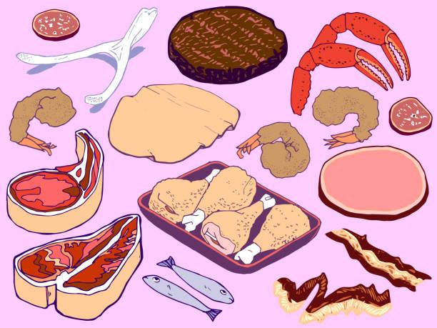 Meats vector art illustration
