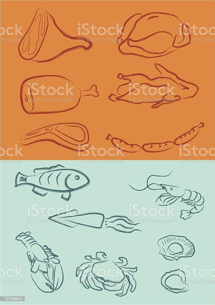 meats royalty-free stock vector art