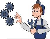 Illustration d'un ouvrier qui répare un mécanisme avec une clé.