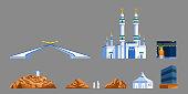 Landmark flat  icon of Mecca's gate and  Hajj pilgrim progress rite.