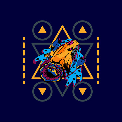 Mecha carp with sacred geometric shapes, suitable for the design of tshirts, posters, cellphone casings etc.