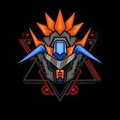 mecha robot head for merchandise, apparel or other with modern sacred geometry ornament
