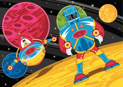 Mecha Robot on Planets Surface