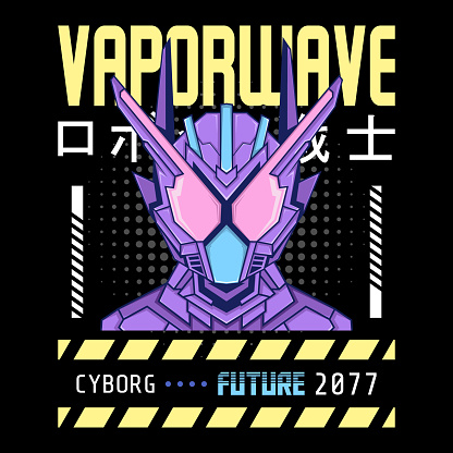 mecha robot vaporwave theme with japanese letter, perfect for merchandise, hoodie, tshirt, etc