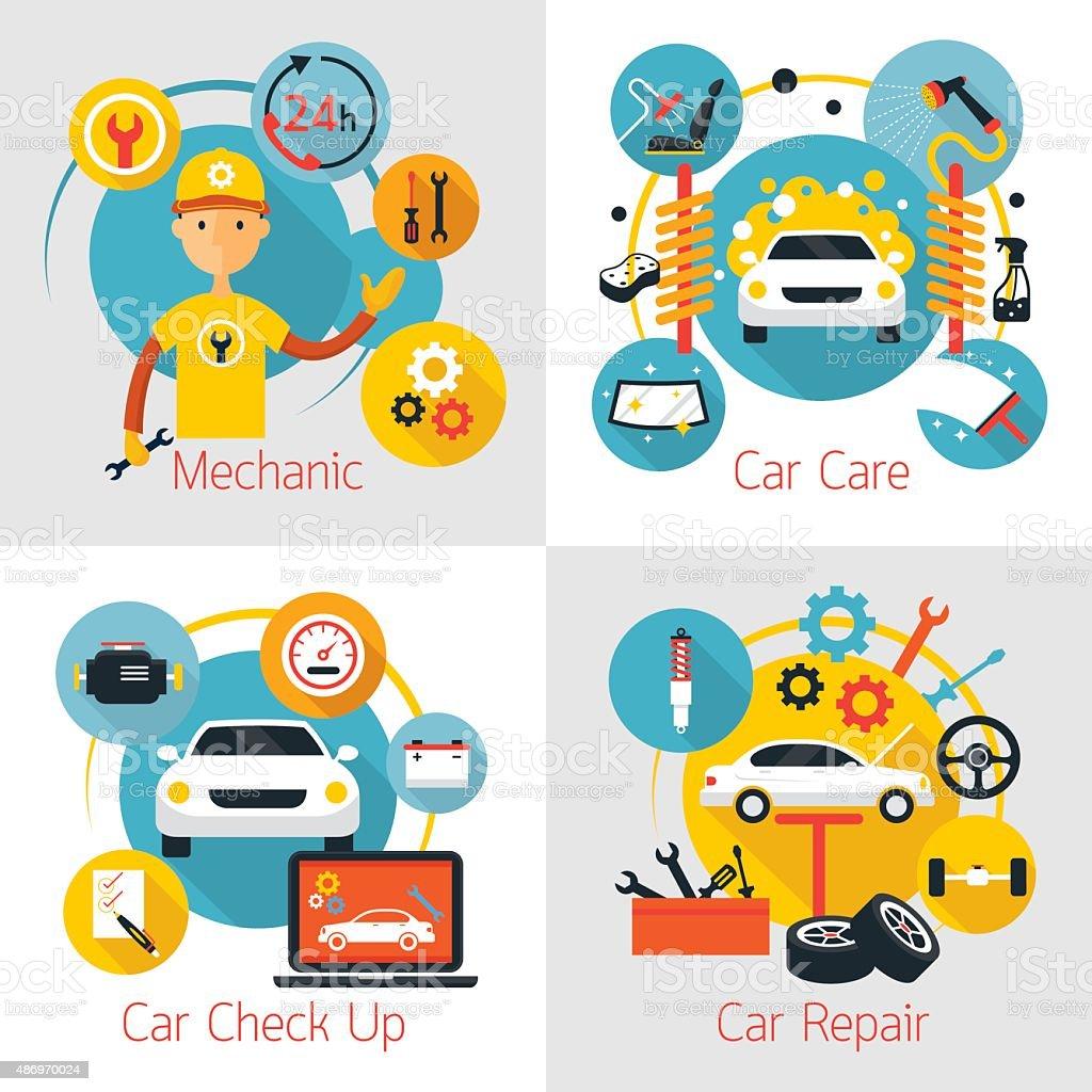 お車の整備とメンテナンスサービスのコンセプトの設定 ベクターアートイラスト