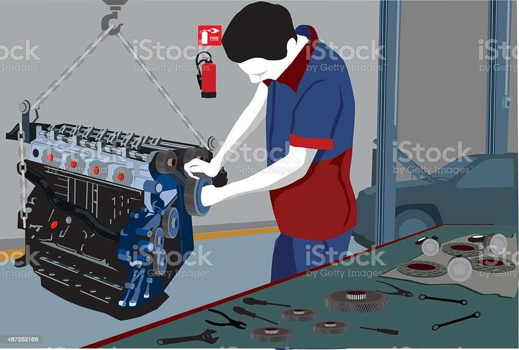 Mechanic and motor vector art illustration