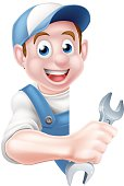 Mechanic Cartoon Plumber Man