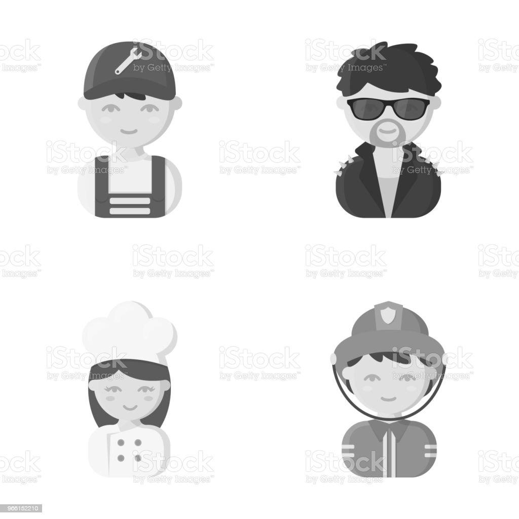 Monteur, entertainer, cook, brandweerman. Beroep ingesteld collectie iconen in zwart-wit stijl vector symbool stock illustratie web. - Royalty-free Activiteit vectorkunst