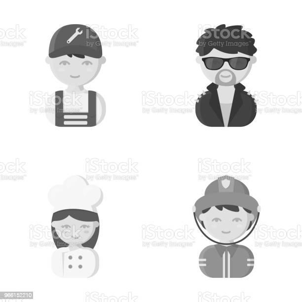 Monteur Entertainer Cook Brandweerman Beroep Ingesteld Collectie Iconen In Zwartwit Stijl Vector Symbool Stock Illustratie Web Stockvectorkunst en meer beelden van Activiteit