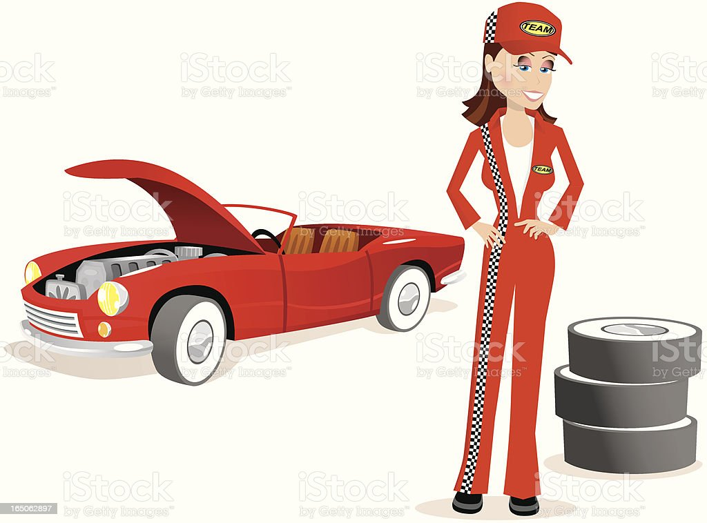 Mechanic girl and convertible sports car royalty-free mechanic girl and convertible sports car stock vector art & more images of adult