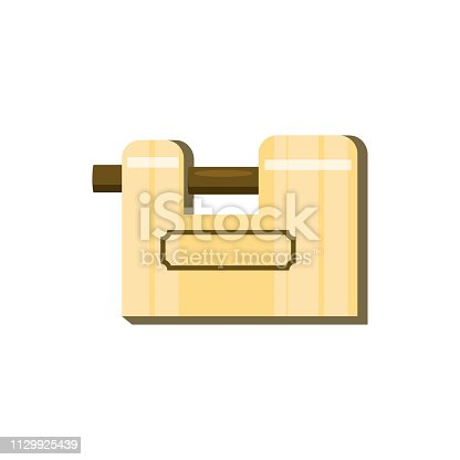 Mechanic golden lock illustration. Key,mechanism, secret. Protection concept. Vector illustration can be used for topics like safety, security, private space
