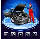mechanic and auto repair shop facing the car with open hood and set of icons on the auto repair shop theme.