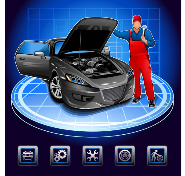 Mechanic in auto repair shop vector art illustration