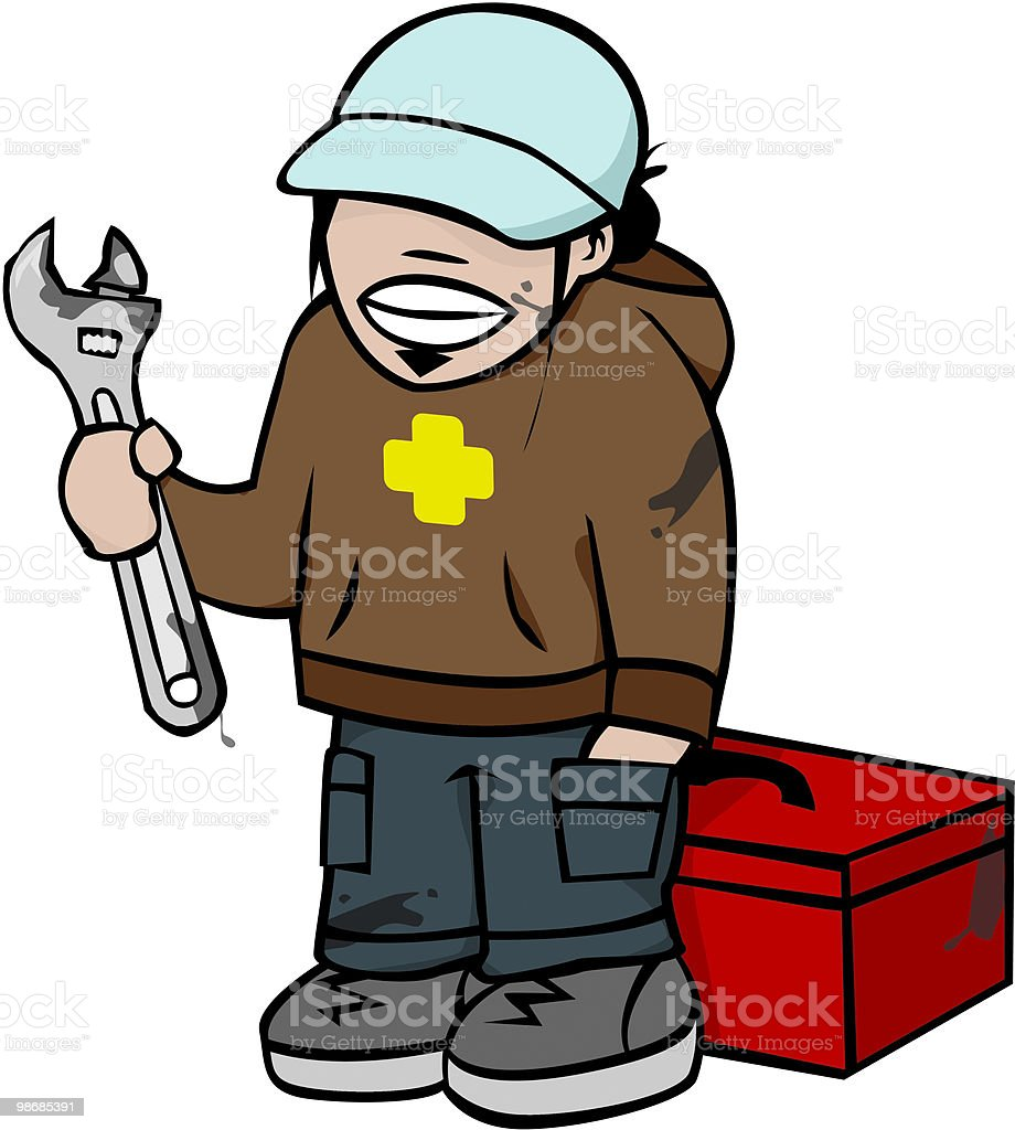 Mechanic Kid [ monkey wrench ] royalty-free mechanic kid monkey wrench stock vector art & more images of child
