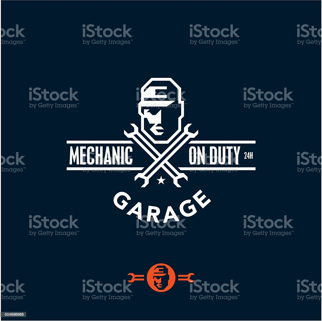 mechanic on duty, garage vector art illustration
