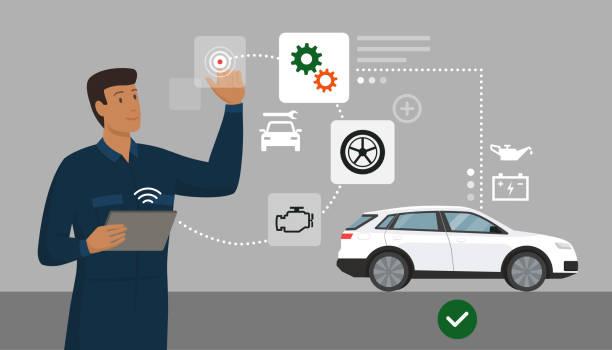 Mechanic performing a car inspection using a digital app vector art illustration