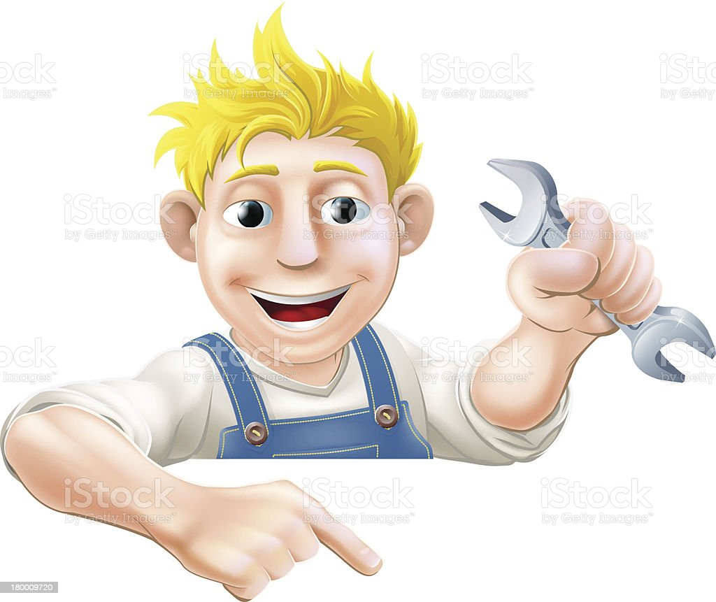 Mechanic pointing down at sign royalty-free mechanic pointing down at sign stock vector art & more images of above